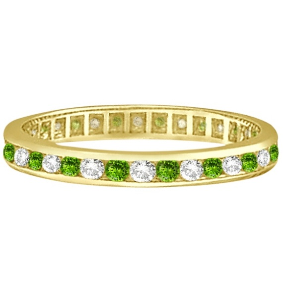 Peridot & Diamond Channel-Set Eternity Ring 14k Yellow Gold (1.04ct)