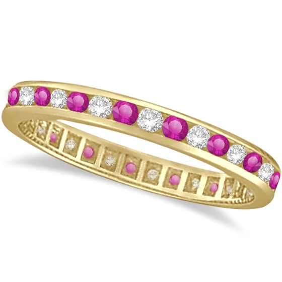 Pink Sapphire & Diamond Channel Set Eternity Band 14k Y. Gold (1.04ct)