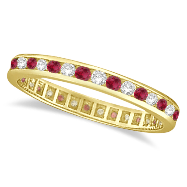 Ruby & Diamond Channel Set Ring Eternity Band 14k Yellow Gold (1.04ct)