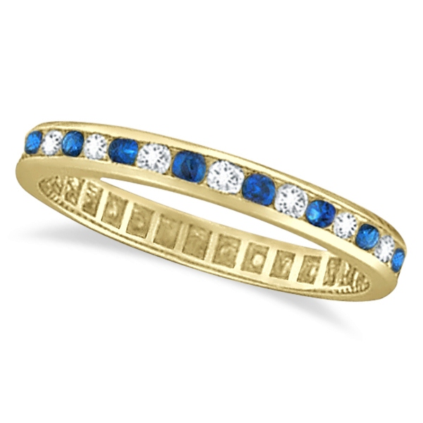 1.04ct Blue Sapphire & Diamond Channel Set Eternity Band 14k Yellow Gold