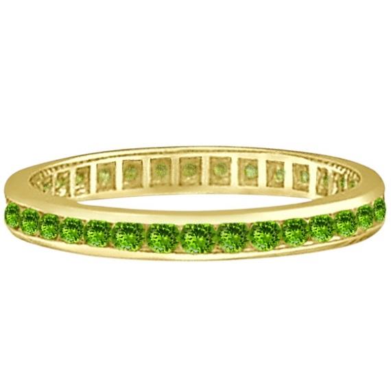 Peridot Channel-Set Eternity Ring Band 14k Yellow Gold (1.04ct)