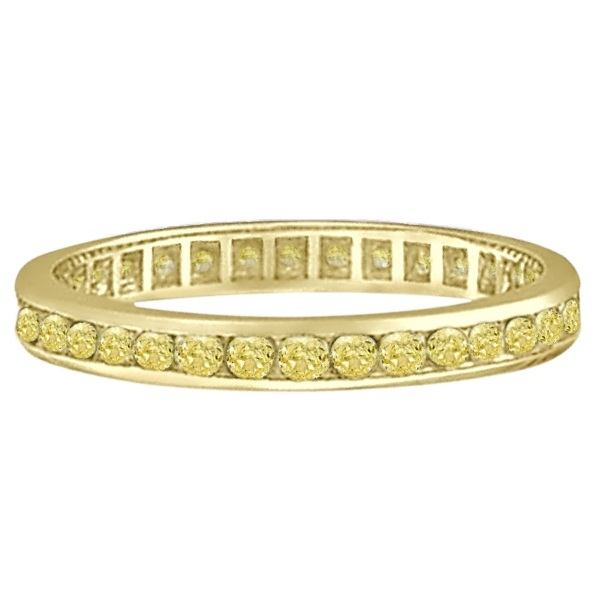 Channel Set Yellow Canary Diamond Eternity Ring 14k Yellow Gold (1.00ct)