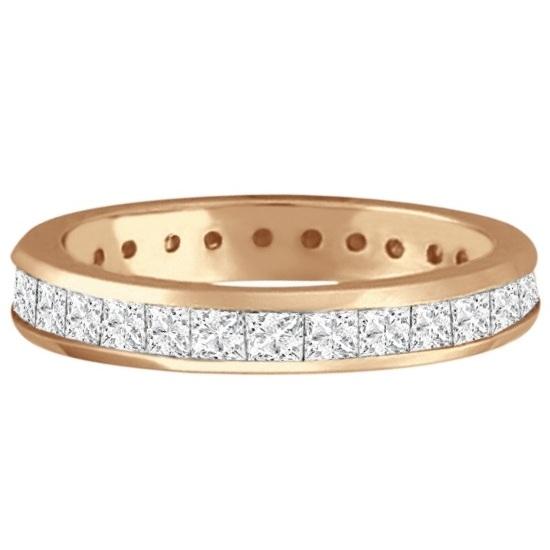 Channel-Set Princess Cut Diamond Eternity Ring 14k Rose Gold (1.56ct)