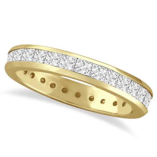 Channel-Set Princess Cut Diamond Eternity Ring 14k Y. Gold (1.56ct)