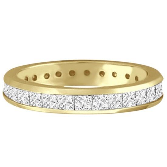 Channel-Set Princess Cut Diamond Eternity Ring 14k Y. Gold (1.56ct)