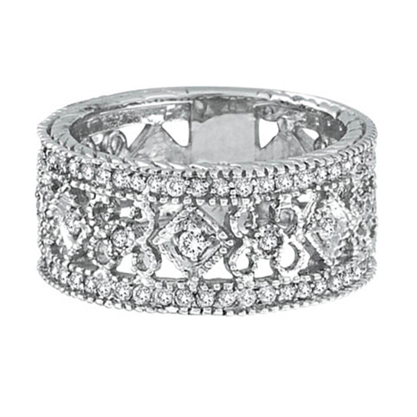 Antique Style Diamond Eternity Ring Wide Band 14k White Gold (0.66ctw)