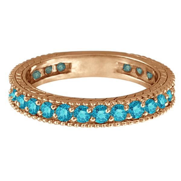 Blue Diamond Eternity Ring with Milgrain Edges 14k Rose Gold (1.00ct)