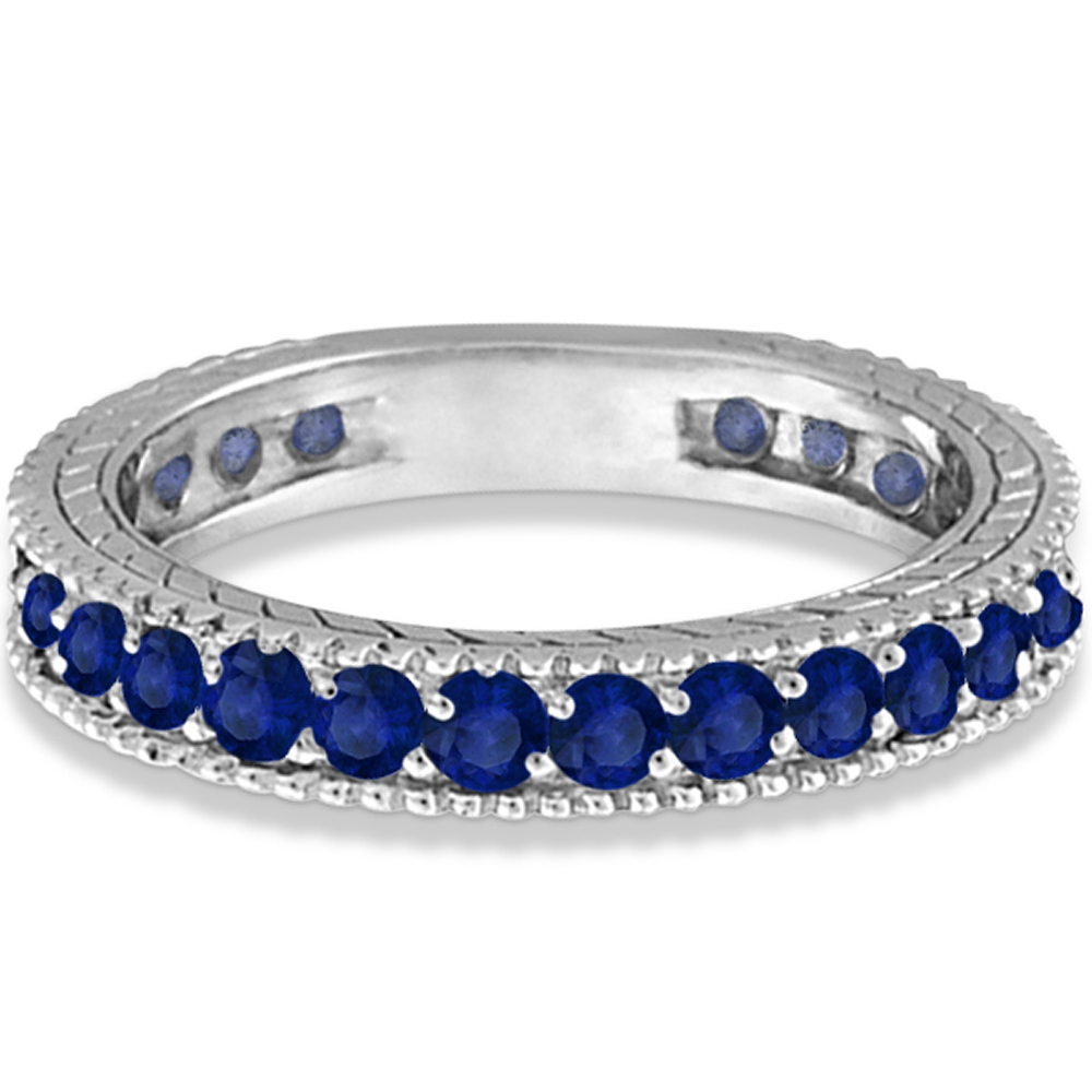 Blue Sapphire Eternity Ring Anniversary Band 14k White