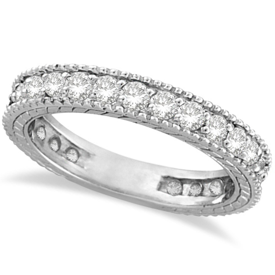 Diamond Eternity Milgrain Edged Ring Band 14k White Gold (1.00ct)