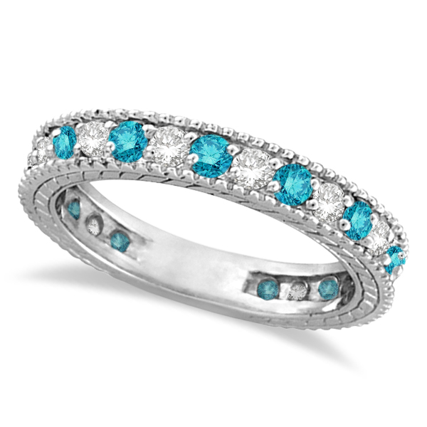 White and Blue Diamond Ring Eternity Band 14k White Gold (1.00ct)