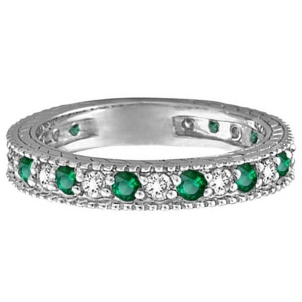 Diamond and Emerald Anniversary Ring Band in 14k White Gold (1.08 ctw)