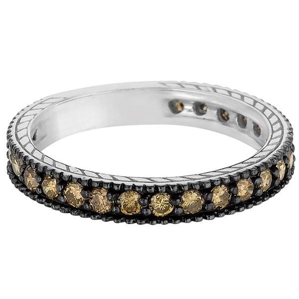 Champagne Diamond Eternity Band Black Rhodium 14k White Gold (1.00ct)