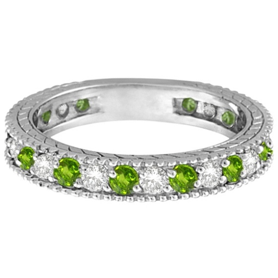 Diamond & Peridot Eternity Ring Band 14k White Gold (1.08ct)
