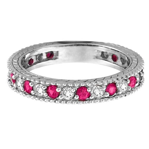 Diamond & Pink Sapphire Wedding Ring Band in Palladium (1.08 ctw)
