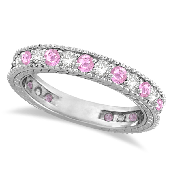 diamond amp pink sapphire wedding band 14k white gold 108ct