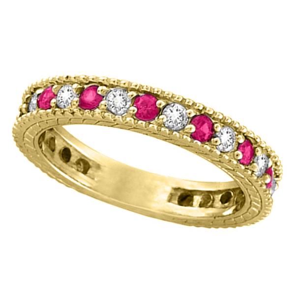 Diamond and Pink Sapphire Ring Anniversary Band 14k Yellow Gold (1.08ct)