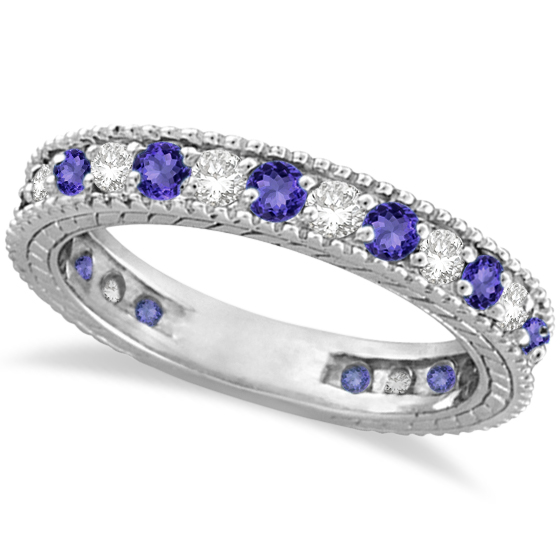 Diamond & Tanzanite Eternity Ring Band 14k White Gold (1.08ct)