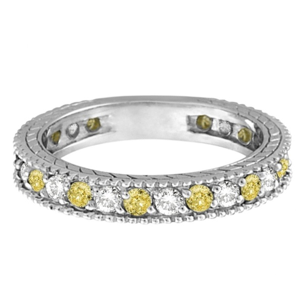 Fancy Yellow Canary & White Diamond Eternity Ring 14k Gold (1.00ct)