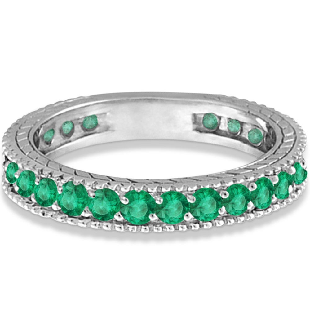 emerald eternity ring anniversary ring band 14k white gold