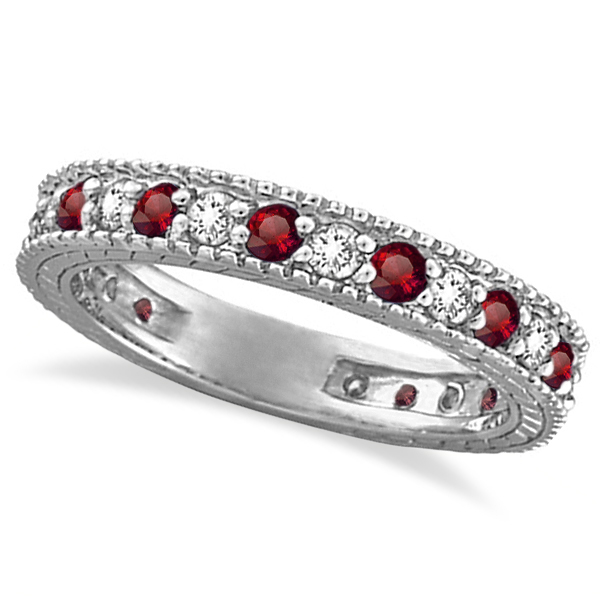 diamond garnet eternity ring filigree band 14k white gold - Garnet Wedding Ring