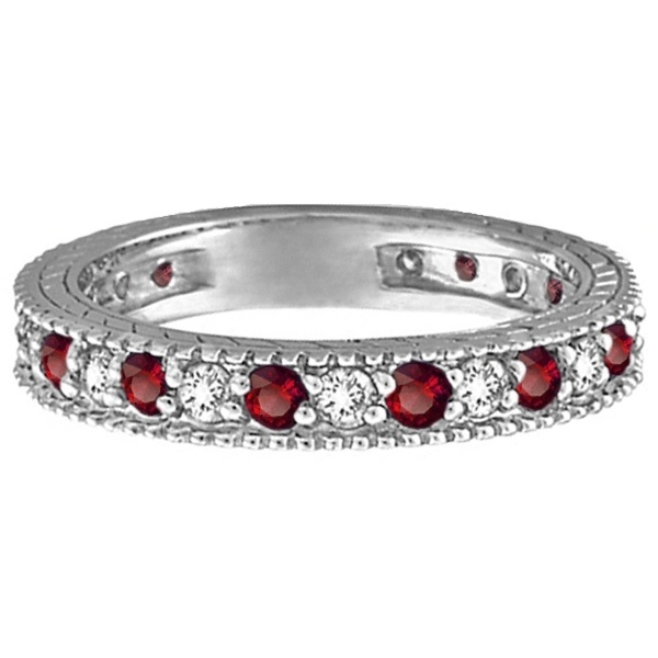 Diamond & Garnet Eternity Ring Filigree Band 14k White Gold (1.08ctw)