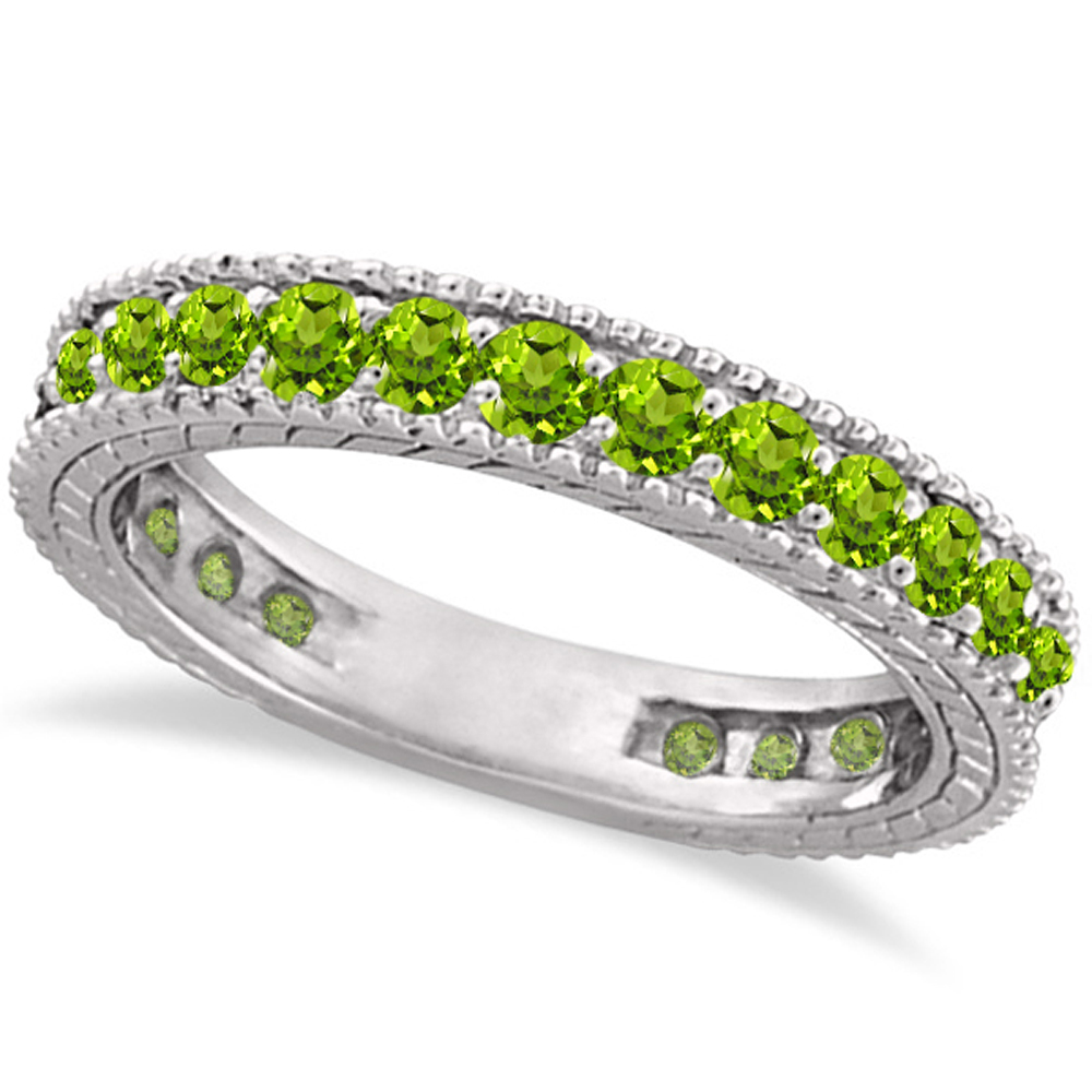 peridot eternity ring anniversary ring band 14k white gold