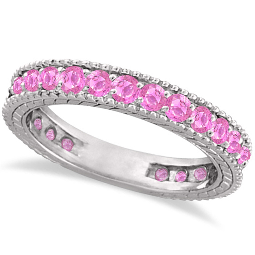 Pink Sapphire Eternity Ring Anniversary Band 14k White