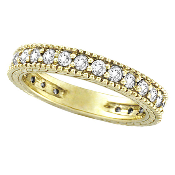 Diamond Eternity Milgrain Edged Ring Band 14k Yellow Gold (1.00ct)