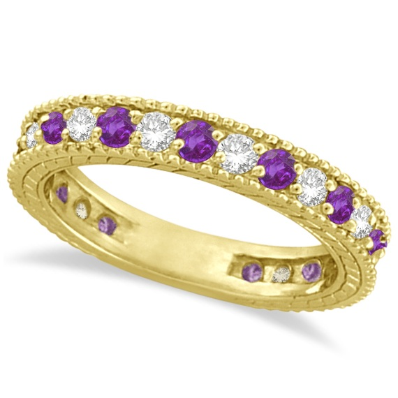 Diamond & Amethyst Eternity Ring Band 14k Yellow Gold (1.08ct)