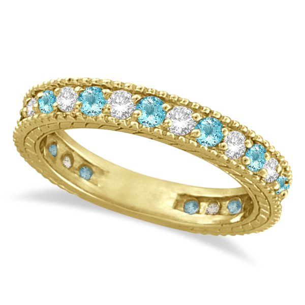 Diamond & Aquamarine Eternity Ring Band 14k Yellow Gold (1.08ct)