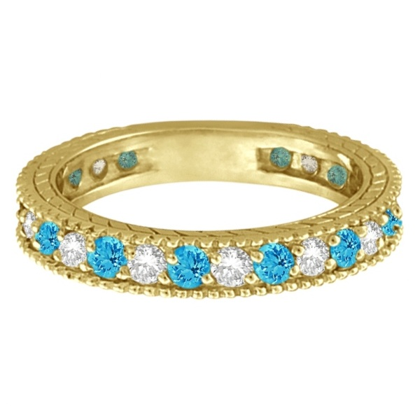 Diamond & Blue Topaz Eternity Ring Band 14k Yellow Gold (1.08ct)