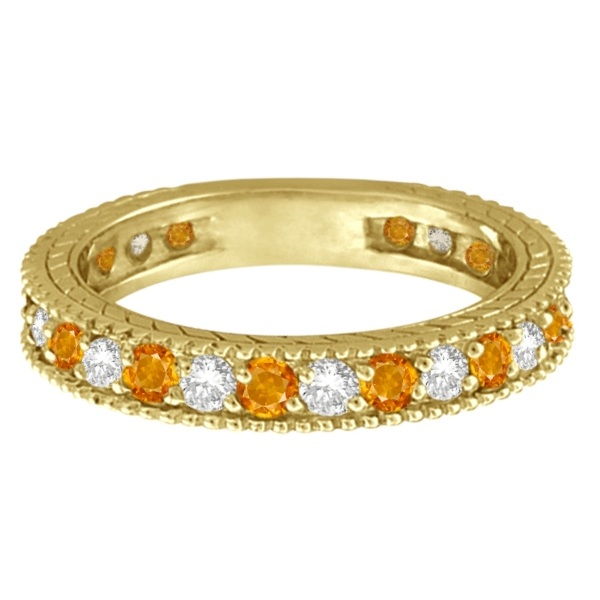 Diamond & Citrine Eternity Ring Band 14k Yellow Gold (1.08ct)