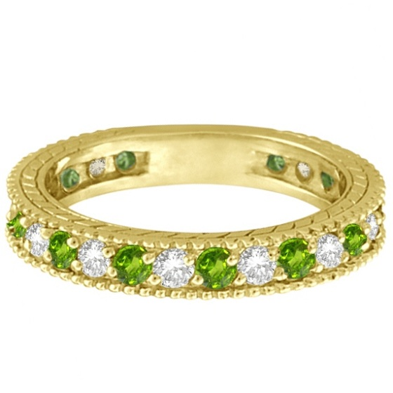 Diamond & Peridot Eternity Ring Band 14k Yellow Gold (1.08ct)