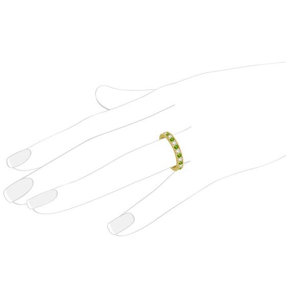 Diamond & Peridot Eternity Ring Band 14k Yellow Gold (1.08ct)