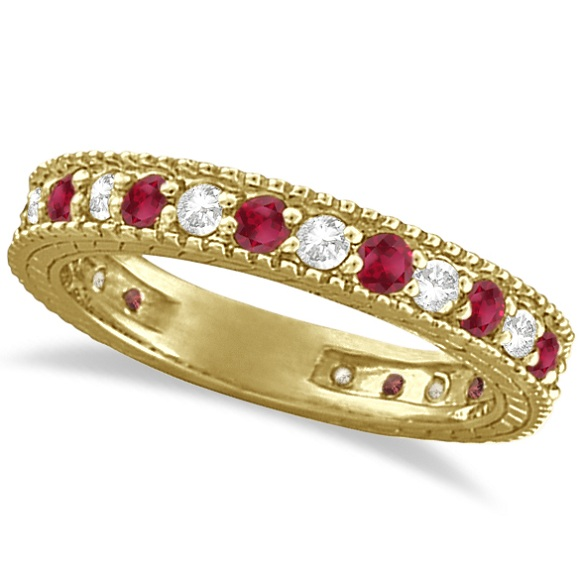 Diamond & Ruby Anniversary Ring Band 14k Yellow Gold (1.08ct)