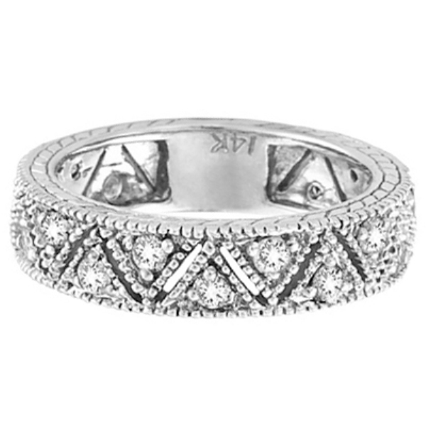 Vintage Style Diamond Anniversary Ring Band 14k White Gold (0.75ct)