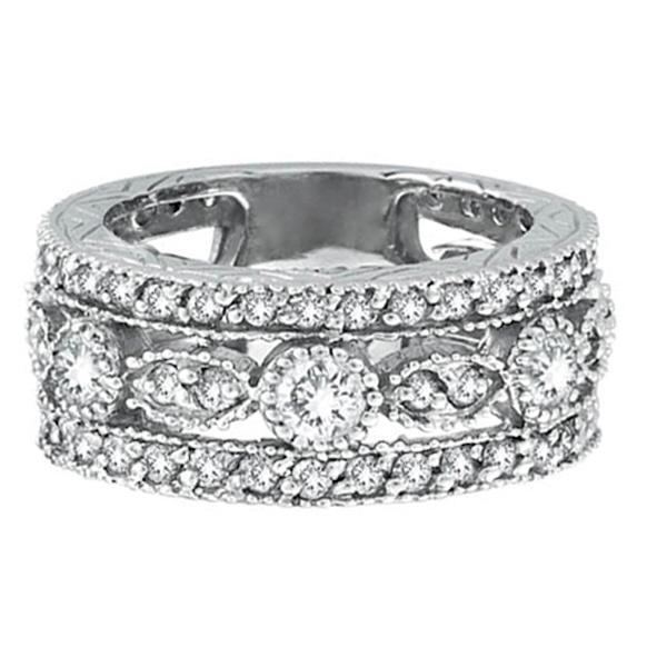 Antique Style Diamond Eternity Ring in 14k White Gold (2.08 ctw)