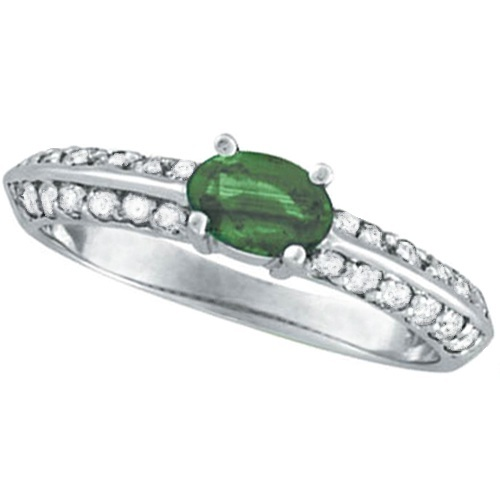 Oval Emerald and Diamond Knife Edge Ring 14k White Gold (0.80cttw)