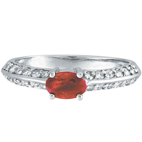 Oval Ruby and Diamond Knife Edge Ring 14k White Gold (1.05cttw)