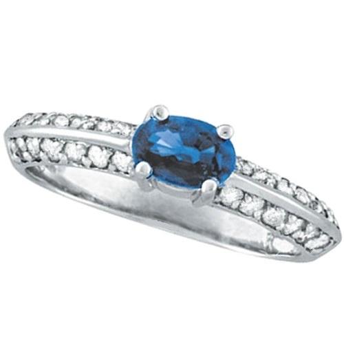 Oval Blue Sapphire & Diamond Knife Edge Ring 14k White Gold (1.16ct)