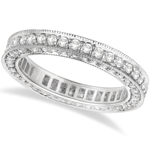Rim-Accented Diamond Eternity Ring Band 14k White Gold (1.55ct)
