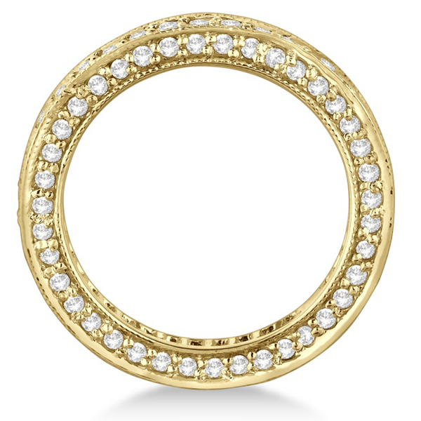 Rim-Accented Diamond Eternity Ring Band 14k Yellow Gold (1.55ct)