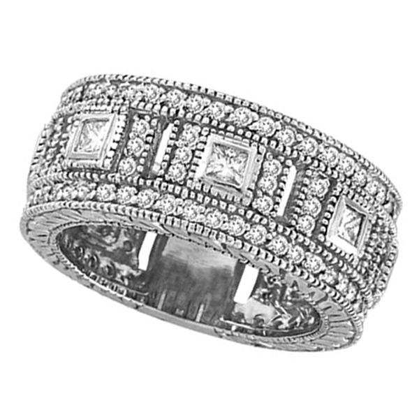 Round & Princess Eternity Diamond Byzantine Ring 14k White Gold (1.72ct)