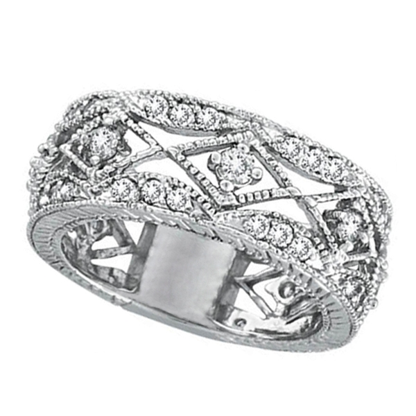 Antique Style Diamond Ring Filigree Band in 14k White Gold (1.00ct)
