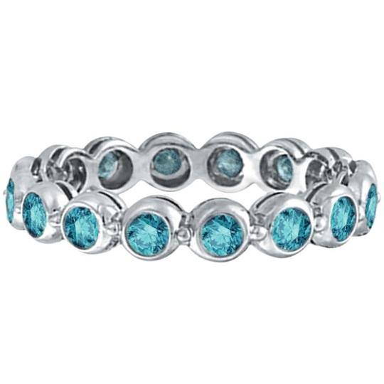 Bezel-Set Fancy Blue Diamond Eternity Band 14k White Gold (1.00ct)
