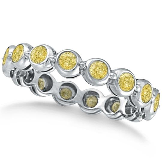 Bezel-Set Fancy Yellow Diamond Eternity Band 14k White Gold (1.00ct)
