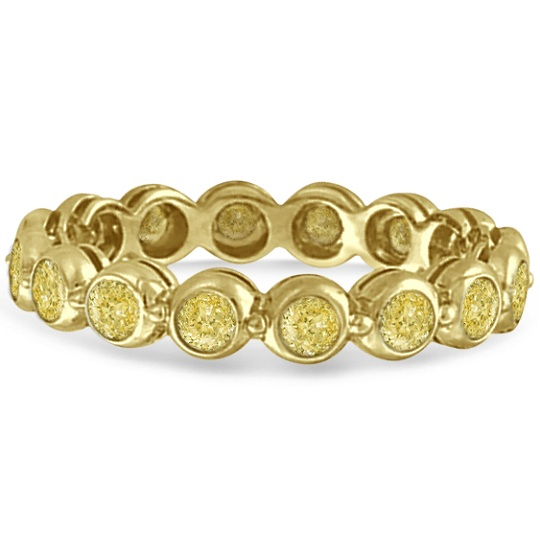 Bezel-Set Fancy Yellow Diamond Eternity Band 14k Yellow Gold (1.00ct)