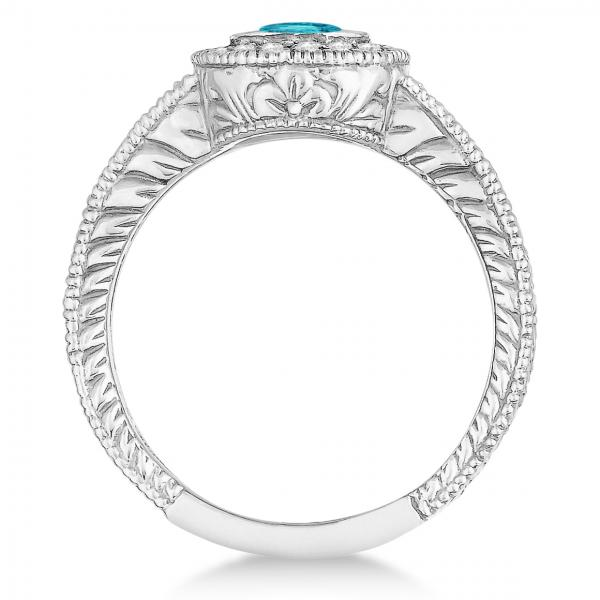 Fancy Blue & White Diamond Antique Style Ring 14k White Gold (0.80ct)