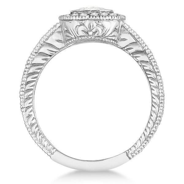 Antique Style Halo Diamond Ring Bezel Set 14K White Gold (0.80ct)