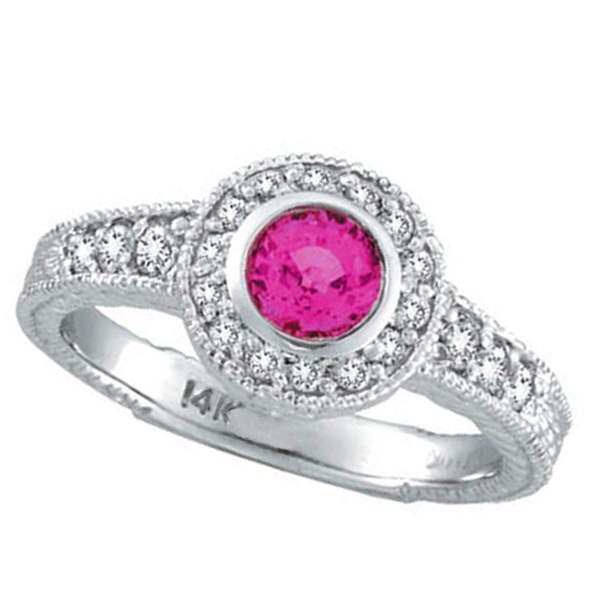 Halo Pink Sapphire and Diamond Ring 14K White Gold (1.00ct)